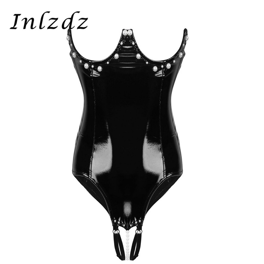 Womens Erotic Lingerie Crotchless Bodysuit Wet Look Patent Leather Sex Costume Bare Breast with Pearl Sexy Underwired Bodysuit