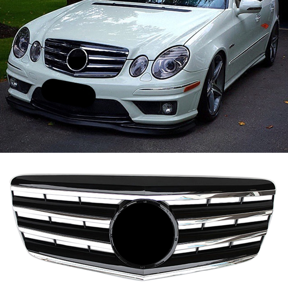 Car Front Grille Upper Mesh <font><b>Grill</b></font> For <font><b>Mercedes</b></font> Benz E-Class <font><b>W211</b></font> E320 E350 E500 2007 2008 2009 Chrome Black ABS Plastic image