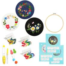 DIY Stamped Embroidery Starter Kit Handwork Needlework for Beginner Cross Stitch Ribbon Painting Hoop