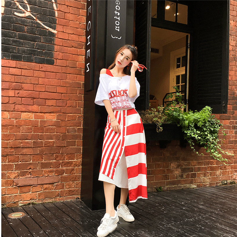 2019 Summer Fashion-Elegant Set Elegant Students Korean-style Very Fairy Two-Piece Weep Yafeng Skirt Women's Western Style