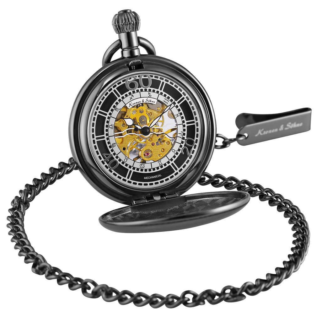 KS Retro Golden Smooth Case Hunter Twelve Constellation Analog Clock Mechanical Pocket Watches Jewelry Pendant +Gift Box /KSP076