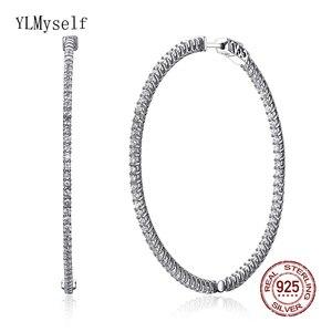 Image 1 - Recomendar 56mm grande real prata esterlina argola brinco micro pavimentar pequena zircônia jóias grande 925 círculo