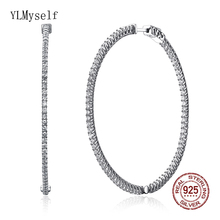 Recommend 56mm Large Real Sterling Silver Hoop Earring Micro Pave Tiny Zirconia Jewelry Big 925 Circle Jewellery
