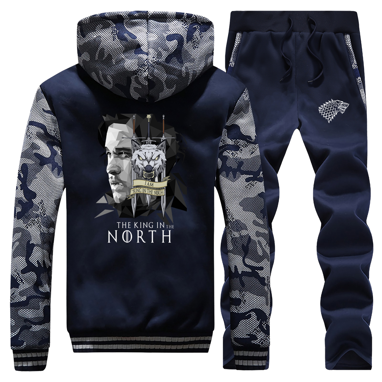 Hot Sale Winter Game Of Thrones King In The Orth Men Hoodies Camouflage Sportswear Coat Thick Suit Jacket+Sweatpants 2 Piece Set
