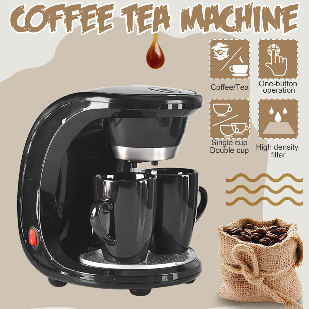 450W Auto Dual Cup Coffee Machine Electric Drip Coffee Maker Dual-use American Coffee Tea Machine Household 110V/220V