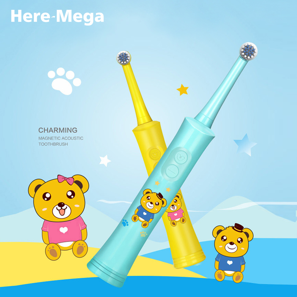 HERE-MEGA Rotating Electric Toothbrush Child Battery Charging Tooth Brush Dupont Brush Head Safe Healthy 2 Cleaning Modes