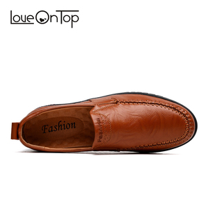 Image 4 - Мужская повседневная обувь из натуральной кожи, мягкие мокасины, коричневые лоферы, большие размеры 47, уличная удобная обувь для вождения без застежки