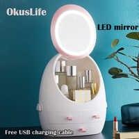 USB Rechargeable maquillage organisateur boîte de rangement cosmétique Portable bijoux conteneur résistant à la poussière tiroir étanche miroir lumière LED