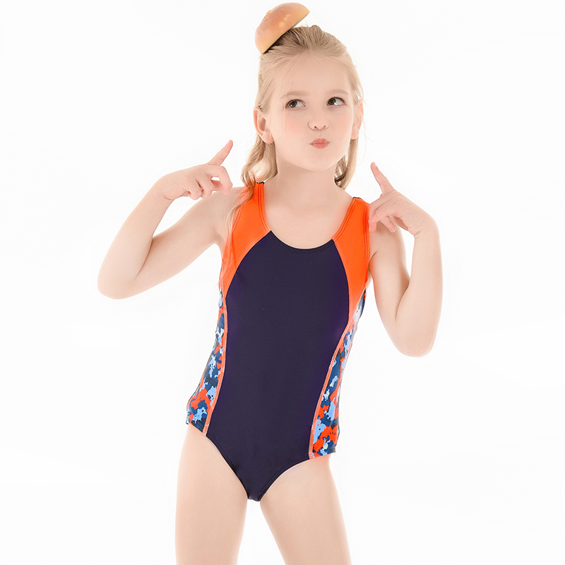 Girls Swimsuit Baby Toddler Beach Wear Customizable Logo 3-9 Years Solid Patchwork Kid Competition Swimwear Swimming Wear 2020