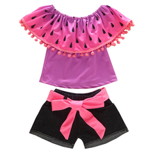 1-6Y 2pcs kids girls clothes watermelon top and short jeans boutique clothing fashion outfit summer