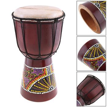 Sprzedaż 6 Cal profesjonalny afrykański bęben Djembe klasyczny obraz drewno koza skóra dobry dźwięk Instrument muzyczny tanie i dobre opinie NoEnName_Null Other 10 cal Kożuch