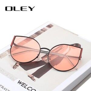 Женские винтажные солнцезащитные очки OLEY, брендовые дизайнерские очки кошачий глаз в стиле ретро, UV400, Y8950