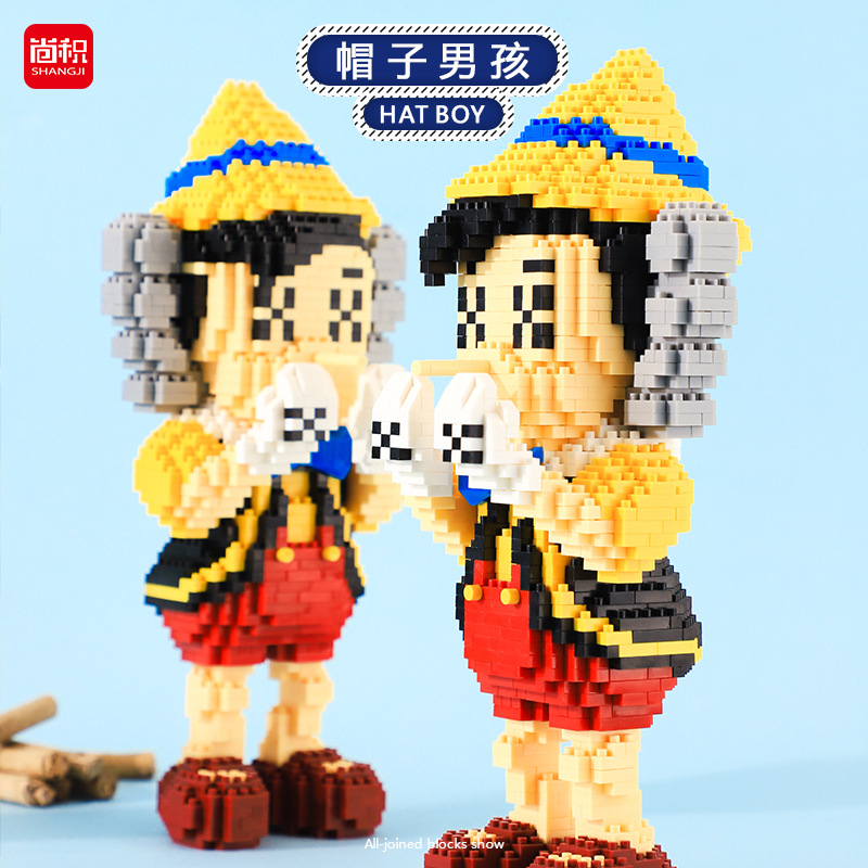 Mini Blocks Cartoon Assembling Blocks Anime Plastic Building Bricks Toys Happy Man Educational Toys Children Gifts Kids Juguetes