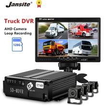 7 Jansite polegada Caminhão DVR Registrador gravador de Condução Câmera AHD Night Vision Rear View Monitor de Backup Gravação em Loop 12-24V