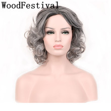 цена WoodFestival Womens Synthetic Hair Wigs for Women Heat Resistant Curly Grey Black Short Wig Cosplay