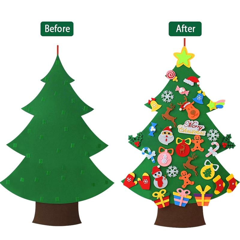 Kids DIY Felt Christmas Tree Christmas Decoration for Home Navidad 2021 New Year Gifts Christmas Ornaments Santa Claus Xmas Tree 6