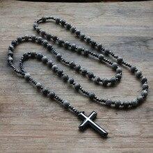 6mm Lapis Lazuli stone bead & Hematite cross pendant necklace for Men Women Catholic Christ Rosary Cross Pendant Drop shipping
