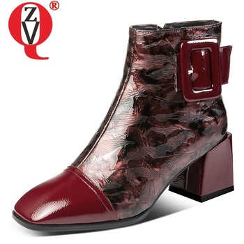 ZVQ 2019 autumn new fashion square toe ankle boots outside high heels zip genuine leather women shoes drop shipping size 33-42