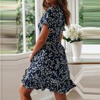 Женские летние платья 2020, сексуальное пляжное платье Бохо С V-образным вырезом и цветочным принтом, ТРАПЕЦИЕВИДНОЕ мини-платье с коротким рукавом и оборками, сарафан с запахом, Халат 6