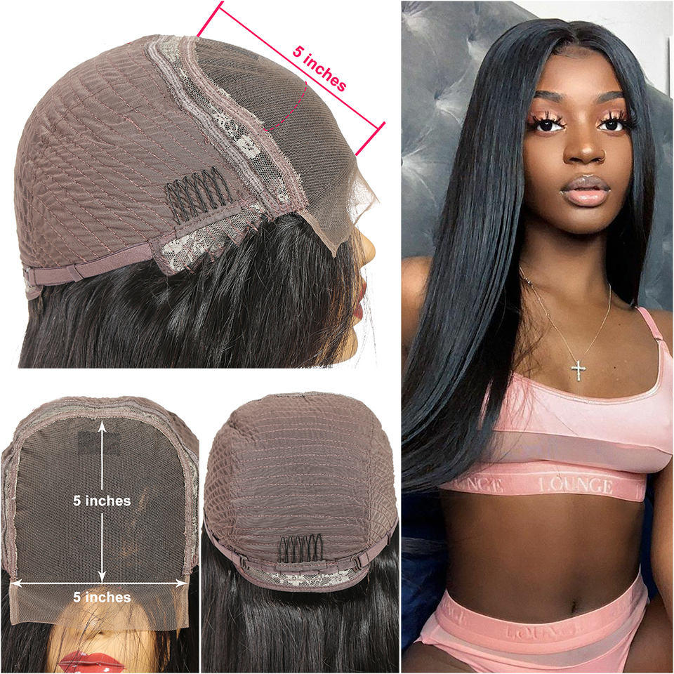 H1a53f5beefe44938a8899c4b002c94c2d Lace Closure Human Hair Wigs Brazilian Straight Lace Closure Wig 4*4 5*5 Closure Human Hair Wigs With Baby Hair ALI ANNABELLE