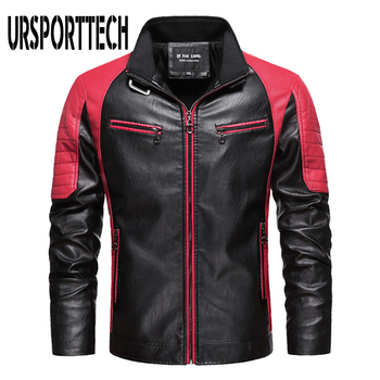 URSPORTTECH Spliced Men's Leather Jacket Casual Fashion Stand Collar Fleece Vintage Coat Quality Motorcycle Leather Jacket Men maplesteed vintage motorcycle jacket men leather jacket 100