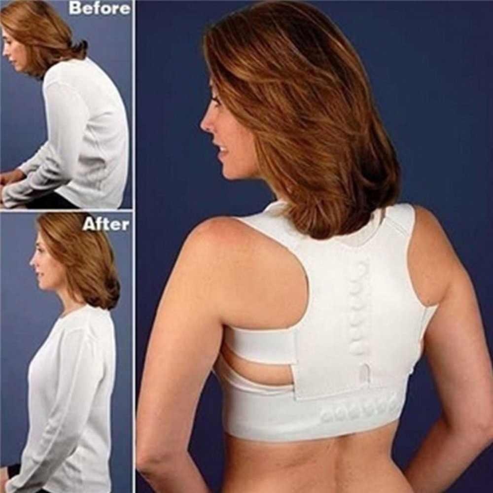 Blanco volver Corrector de las mujeres de los hombres enderezar la espalda hombro Corrector soporte postura correa de ortopédico ajustable de atención de la salud