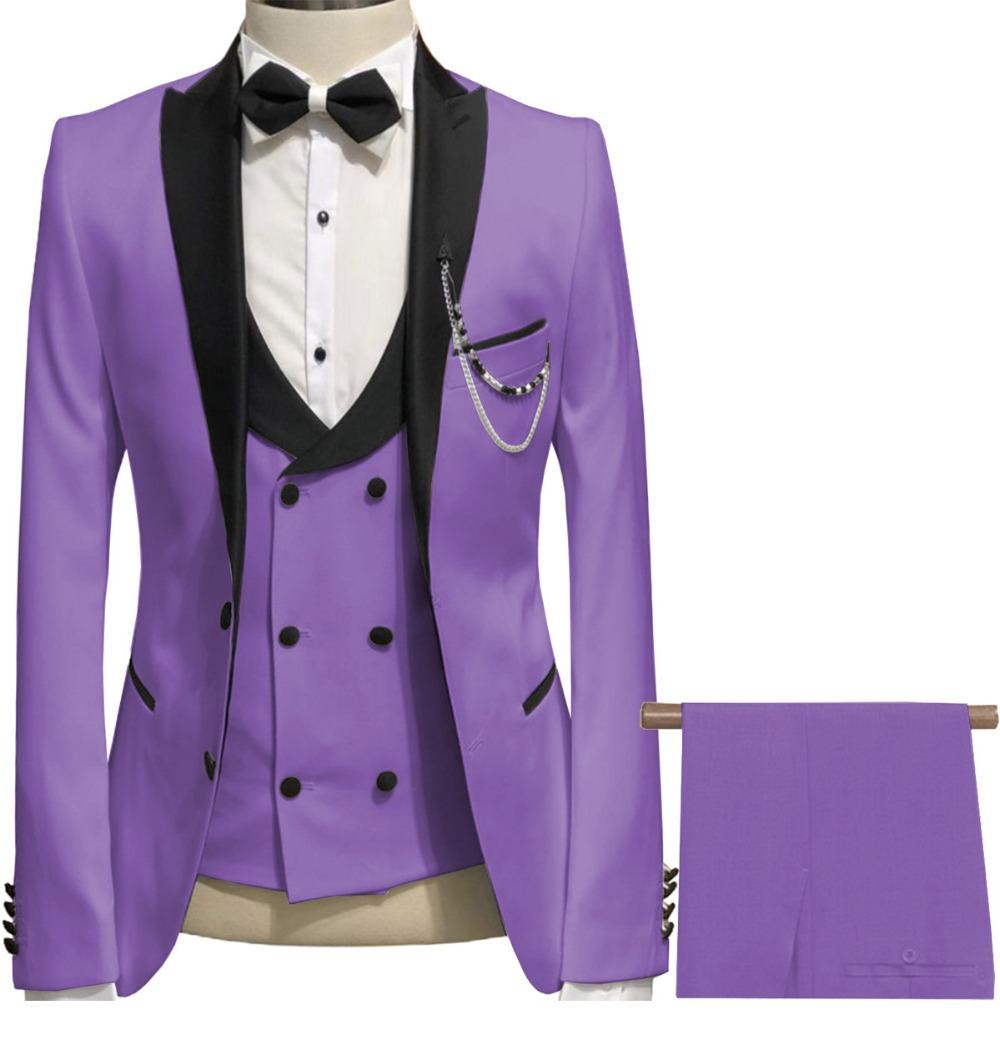 2019 Latest Coat Pant Designs Light Purple Linen Wedding Suits For Men Terno Slim Fit Groom Custom 3 Piece Tuxedo Suit Best Man