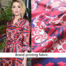 Cashew Flower Printed Red Fabric Brand Fashion Shirt Handmade DIY Clothing Custom Cloth Fabrics by the Meter for Dress Sewing