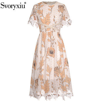 Svoryxiu Runway Summer Dress Women's Short Sleeve Hollow Out Flower Print Patchwork Embroidery Lace Elegant Party Midi Dresses