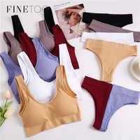 FINETOO-Conjunto de sujetador y braguitas para mujer, ropa interior sin costuras, lencería para ejercicio, Tanga Sexy, 2 uds.