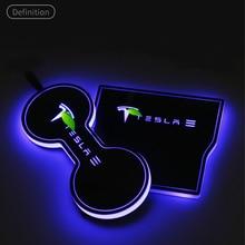 Немного Изменить воду подстаканник атмосфера светильник Индукционная лампа Интерьер Для Tesla модель 3 автомобильные аксессуары