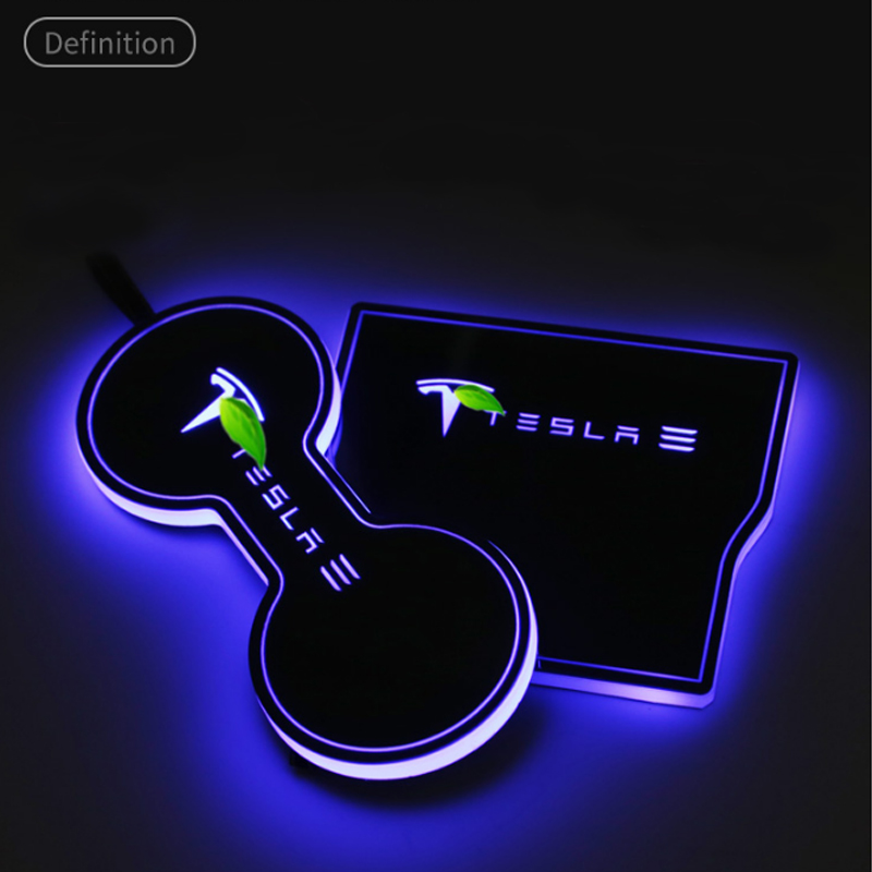 A Little Change Water Coaster Atmosphere Light Induction Lamp Interior For Tesla Model 3 Car Accessories
