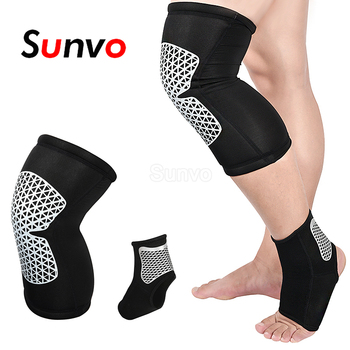 Sunvo 1 Pair Elastic Sport Compression Knee Pads And Ankle Brace Protective Sleeves For Gym Fitness Basketball Volleyball