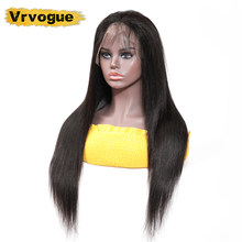 Vrvogue Peruvian 360 Lace Frontal Human Hair Wigs Pre Plucked Hairline Straight Glueless Lace Frontal Wig With Baby Hair Remy(China)