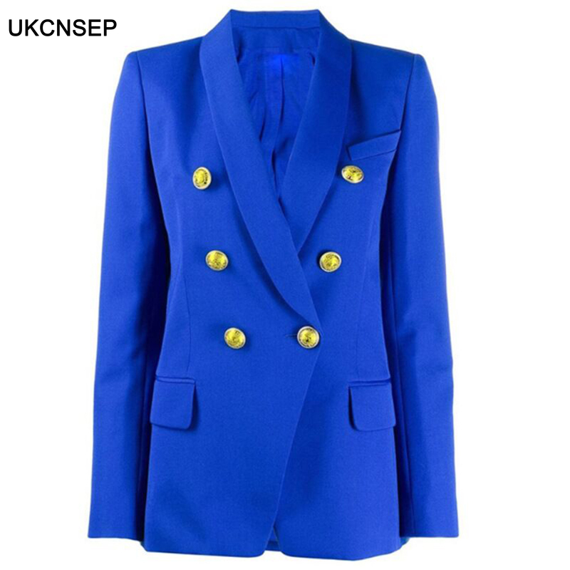 2020 New Office Lady Career Blazer for Women Double Breasted Classic  Buttons Shawl Collar Blazer Jacket