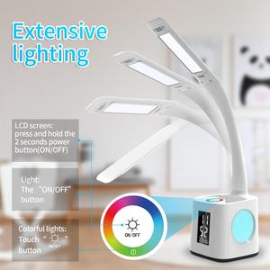 Image 2 - Study led desk lamp table lamp with pen holder usb port&screen&calendar&color night light dimmable led for kids students lamps
