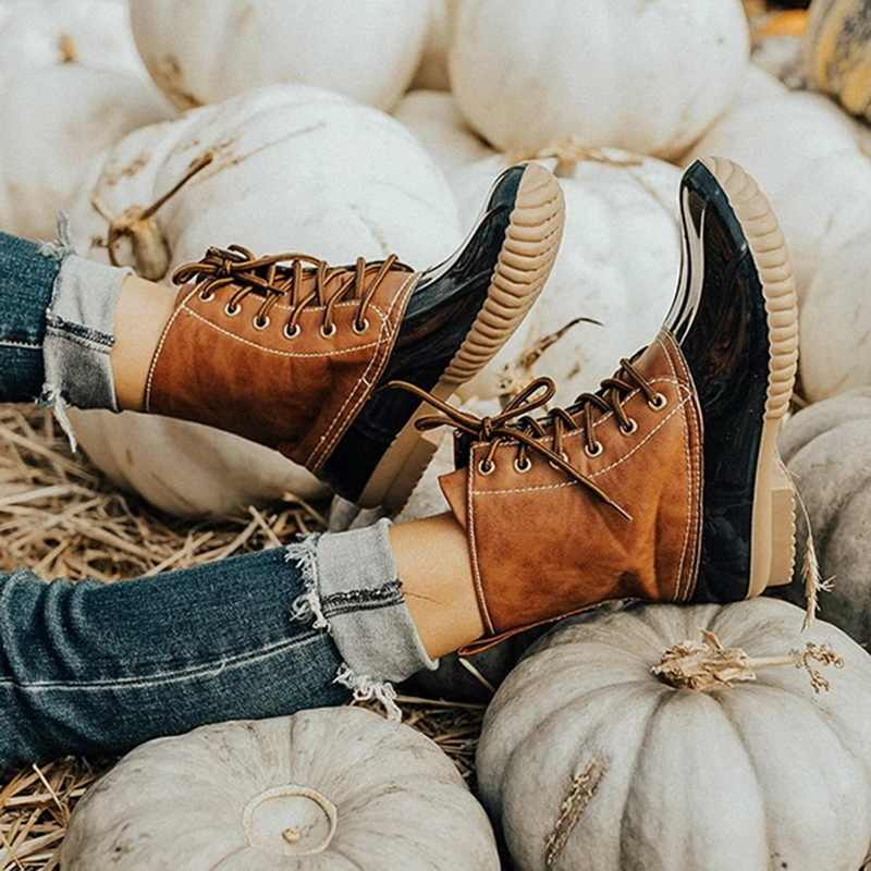 Pathckwork PU Casual tobillo Botas de encaje para Mujer Botas de tacón bajo mujeres zapatos Retro Botas Mujer Invierno 2019 botas