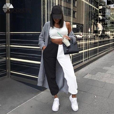 Купить брюки женские с высокой талией тренировочные брюки контрастных