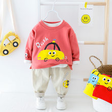 New Boys Girls Spring Autumn Long-sleeved Clothes Guard 0~4 Year Baby Toys Car Shirt Pants Cute Lovely Childern Clothing Suit(China)