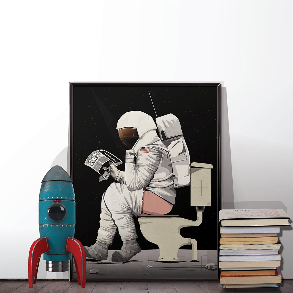 Funny Canvas Art Posters and Prints Canvas Wall Decor Astronaut Sitting on the Toilet Reading Book Painting for Restroom Decor