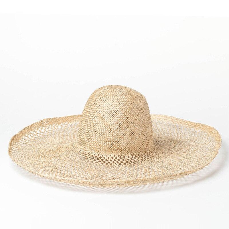 2020 New Women Outdoor Summer Beach Sun Hat Wide Brim Natural Sisal Straw Hat Fashion Hollowed-out Big Brim Kentucky Derby Hat