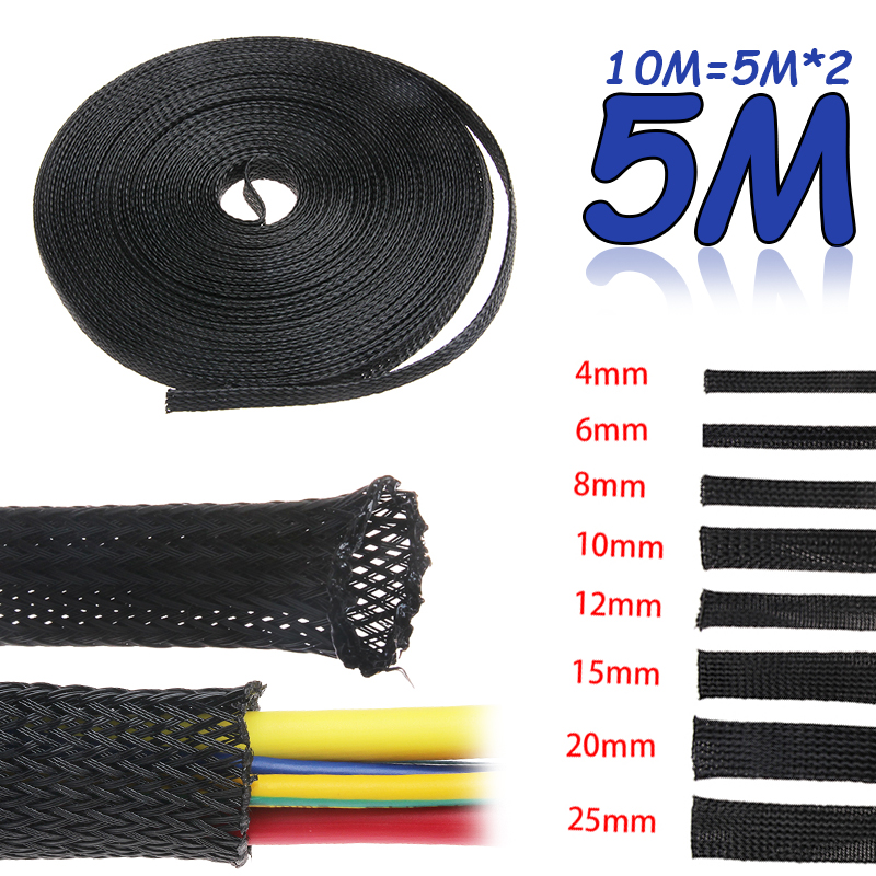 5M Tight PET Expandable Cable Sleeves Wire Gland Cables Protection :4/6/8/10/12/15/20/25mm Insulation Braided Sleeving