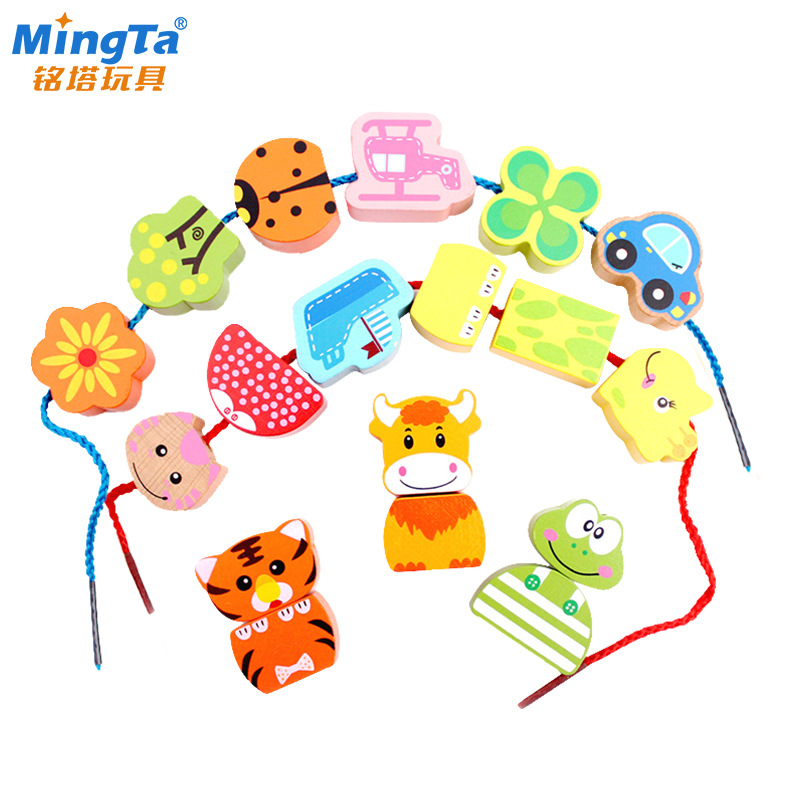 Ming Tower A8103 Large Beaded Bracelet CHILDREN'S Toy Building GIRL'S Wear Beads Handmade Threading Wearing Rope 1-3 Years Old