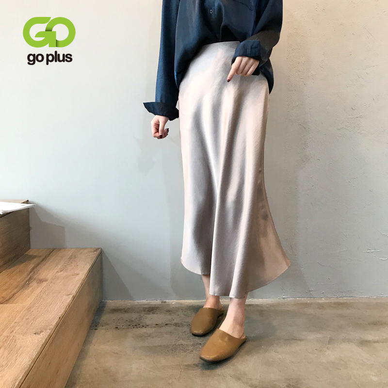 GOPLUS 2019 Spring Summer High Waist Satin Skirt Mermaid Long Skirts Womens Shiny Silk Imitation Midi Metallic Black Skirt C9586