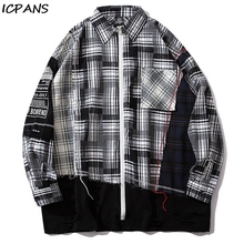 ICPANS Patchwork Pocket Long Sleeve Zipper Plaid Shirt Hip Hop Streetwear Dress Shirts Distressed Destroyed Holes Color Block color block plaid lapel long sleeve mens shirts