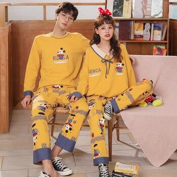 Conjunto de pijamas de pareja pijamas de mujer de talla grande primavera Otoño de algodón de dibujos animados de manga larga ropa de dormir hombres Lounge Pijama para mujer de invierno