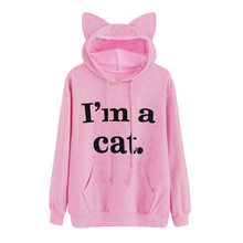 2019 Autumn Harajuku Women Hoodies Sweatshirt I'am A Cat Pattern Long Sleeve Moletom Warm Hooded Sweatshirts Ear Hooed Mujer(China)