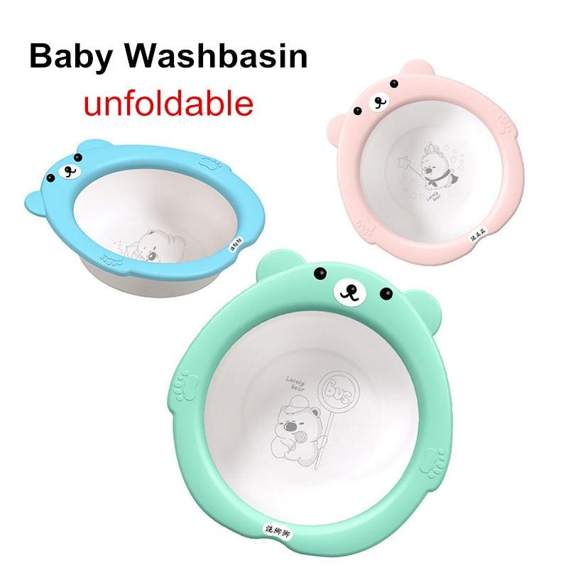 Baby Foldable Wash Basin bebe washbasin Newborn Plastic pots Cartoon Convenient Travel Cute Child Small Face Wash Butt Footbath