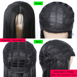 Image 5 - Maycaur Long Straight Black/Pink Synthetic Hair Wigs With Natural Hairline Heat Resistant Straight Wigs for Women