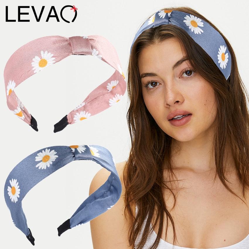 Levao New Daisy Head Bezel Cross Knotted Headband Women Headwear Cute Flower Print Hair Hoop Hairband Girls Hair Accessories